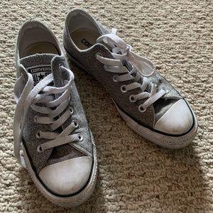 Converse Sparkle Knit silver sneakers, Sz 6.5